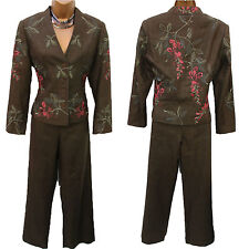 BNWT Minuet @ House Of Fraser Khaki Embroidered Formal Suit Jacket Trousers 8 UK