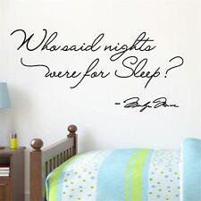 Who Said Nights Were For Sleeping MARILYN MONROE Wall Sticker Bedroom Art Decor