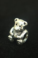 "SOLID 925 Silver ""LITTLE TEDDY BEAR"" Threaded CHARM Bead European Bracelet"