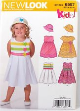 New Look Sewing Pattern 6957 Baby Toddler Dress and Hat Sizes 1/2 1 2 3 4 VTNS