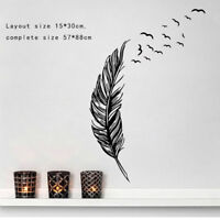 Birds Feather Wall Stickers Bedroom Living Room Art Decal Home Decor UK 🔥