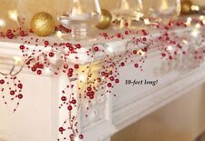 10 Ft. Long Cordless Lighted Silver Berry-Beaded Holiday Christmas Garland