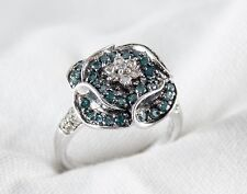 Genuine Blue & White Diamond Cluster Ring .75ct 925 Sterling SIlver Size 7