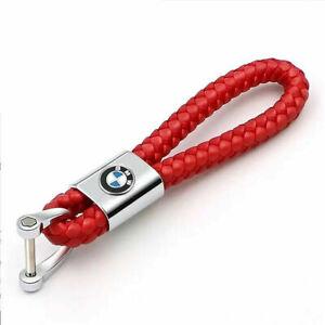 Car Logo Key Chain Fobs Leathe Weave Straps Keyring For BMW M Power