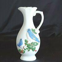"Vintage 70's Boho Ceramic Vase Blue Bird Design 6"" Tall Preowned"