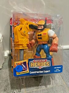 FISHER PRICE RESCUE HEROES  JACK HAMMER CONSTRUCTION EXPERT 1997 NEW ON CARD