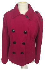 Tommy Hilfiger Pink Wide Wale Corduroy Jacket Coat Womens L Double Breasted