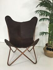 *BRAND NEW* BUTTERFLY CHAIR GENUINE LEATHER MATTE DARK TAN