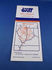 BRITT AIRWAYS AIRLINE SYSTEM TIMETABLE SCHEDULE FEBRUARY 1985 ROUTE ADVERTISING