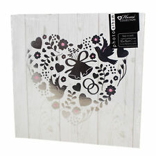 "Photo Album - Wedding - White & Silver ""Floral Heart & Birds"" Design 200 Photos"