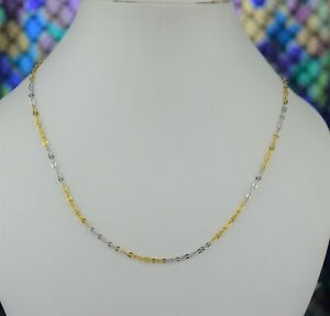 22k Chain Solid Gold Simple Elegant Two Tone Cable Link Design C3540m