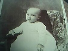cabinet card photograph edwardian medina n y baby sat white dress