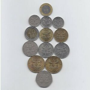 KENYA 1968 - 1998 13 DIFFERENT NICE CONDITION CIRCULATED COINS LOT COLLECTION