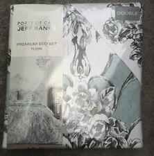 Jeff Banks Ports Call Torri Double Duvet Cover Pillow Case Duck Blue Grey White