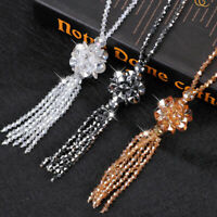 Tassel Long Necklace Fashion Sweater Flower Crystal Bead Women Chain 1PC Pendant