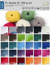 4,99€ / 100 gr RELLANA Sockenwolle 4-fach Uni viele Farben