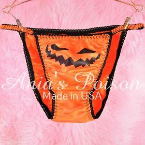 HALLOWEEN Panties Satin Orange Pumpkin Jack-o-lantern ladies sissy string bikini