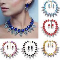 Women Fashion Crystal Bib Choker Chain Statement Necklace Earrings Jewelry Set