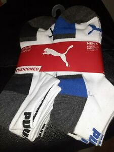 Mens puma low cut socks 6 pair cushioned socks NEW NIP