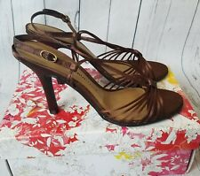 Chinese Laundry Womens Willamina Satin Brown Strappy Heels Holiday 6.5