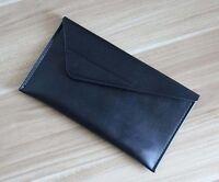 men women wallet purse cow Leather Clutch Pouch iphone storage bag black z511