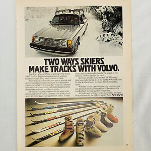 "1979 Volvo Vintage Magazine Print Ad Two Ways Skiers Make Tracks Color 16"" x 11"""