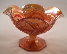 Vintage Marigold Carnival Glass Scalloped Pedestal Candy Dish