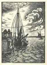 Reinhold HOBERG - FISCHKUTTER - OriginalHolzschnitt 1925