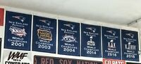 Complete Set of New England Patriots NFL Super Bowl Champions 6 Banners/Flags
