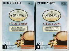 2 Boxes Twinings 6.34 Oz Chai Latte French Vanilla Sweet Black Tea 12 K Cup Pods