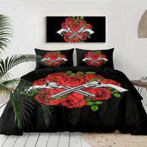 Red Rose Floral Gun Flower King Queen Twin Quilt Duvet Pillow Cover Bed Set