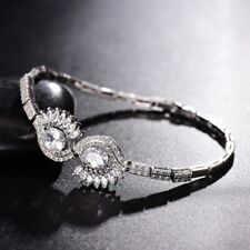 Women Silver Gold Filled Evil Eye Rhinestone Beaded Crystal Smart Chain Bracelet