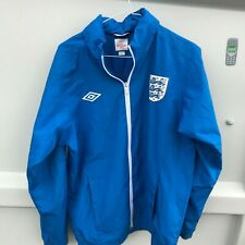 UMBRO ENGLAND FOOTBALL BLUE HOODED JACKET TOP MEN'S SIZE S USED