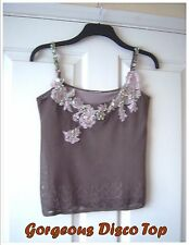 Ladies Strappy Cami Top (#576) Size 8, Party Disco Holiday Cocktail Sequins Vest