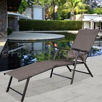 New Pool Chaise Lounge Recliner Outdoor Patio Furniture Adjustable Chair