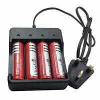 4X 18650 Battery 3.7V 6800mAh Li-ion Rechargeable Flat Top&4.2V UK Plug Charger