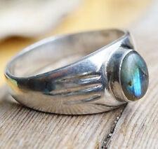 Schlicht Silberring 60 Breit 1 cm Labradorit Handarbeit Blau Linien Silber Ring