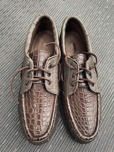 Russell Moccasin VSOP Ostrich and Alligator Casual Dress Shoe Brown Size 10 D
