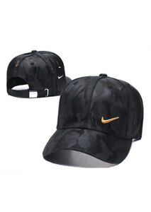 NIKE BLACK CAMO ADJUSTABLE GOLF HAT GOLD SWOOSH DRI FIT NEW WITH TAGS