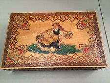 """Vintage Painted Carved Wooden Box With Swiss German Girl Folk  11 X 7 X 3"""""""