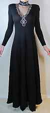 St John Evening by Marie Gray Full Length Black Dress VINTAGE Santana Knit Sz 6