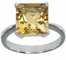 Citrine Solitaire Natural Sterling Silver Fine Rings