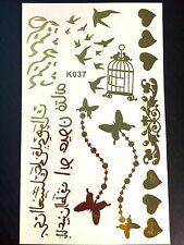 Tatuaggi Adesivi Temporanei-Body Art-Farfalle-Cuoricini-ORO METALLICO-150x90mm