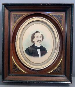 Antique VICTORIAN Frame WATERCOLOR PORTRAIT Painting MAN w/ HANDLEBAR MUSTACHE