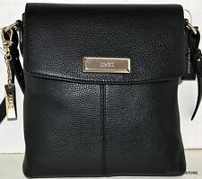 DKNY Soft Leather W/Silver Plaque CROSSBODY Messenger Purse Handbag Sac Bolsa