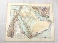 1907 Antique Map of Saudi Arabia The Middle East Israel Palestine Jerusalem