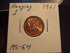 CANADA ONE CENT 1961 Strong HANGING 1... Top grade GEM BU ms++++! FULL RED!