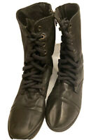 Steve Madden Womens Troopa Black Leather Combat Boots Size 8 M