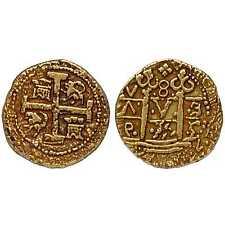 Moneda de color oro doublon Pirata Tesoro español Armada moneda G70
