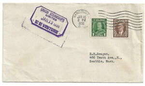 Union Steamships Limited SS Venture. 1938 Ship cancel.